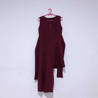 Low High Jumpsuit In Maroon