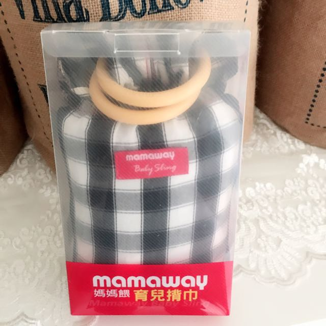 🎀(9.5成新)媽媽餵mamaway金門哺乳揹巾/背巾-黑白格子