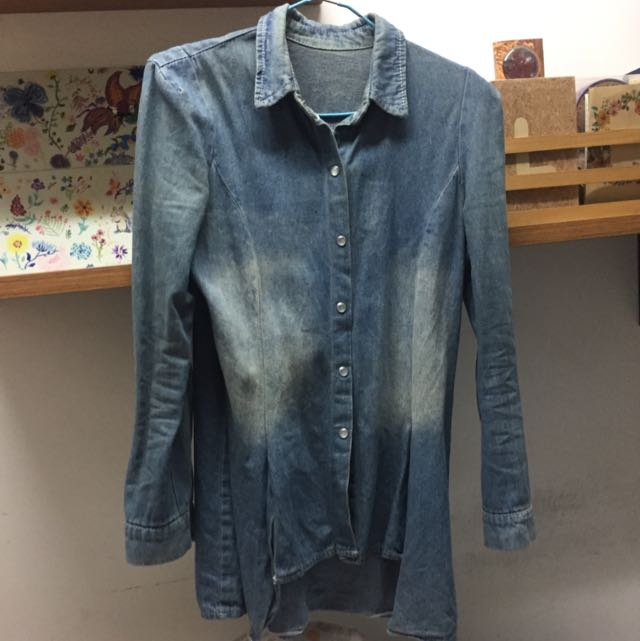 復古刷舊牛仔襯衫