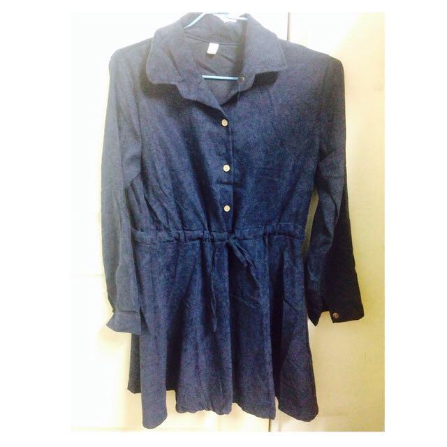 深藍收腰洋裝