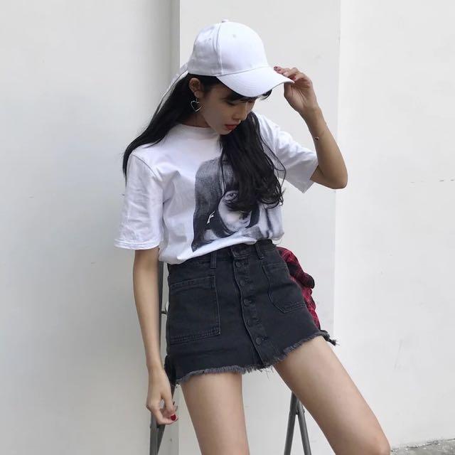 黑色高腰短裙