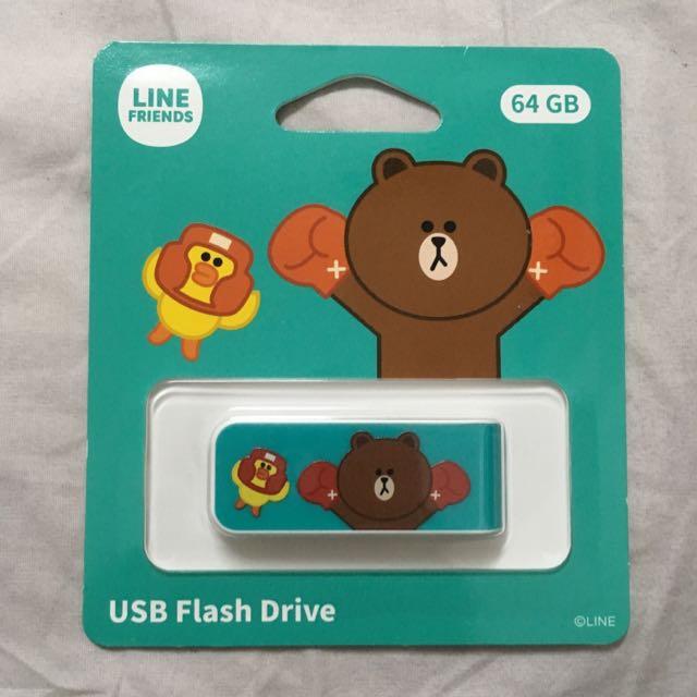 藍綠色) 熊大LINE卡通造型隨身碟(64GB)USB 2.0 台灣Apacer宇瞻原廠公司貨』