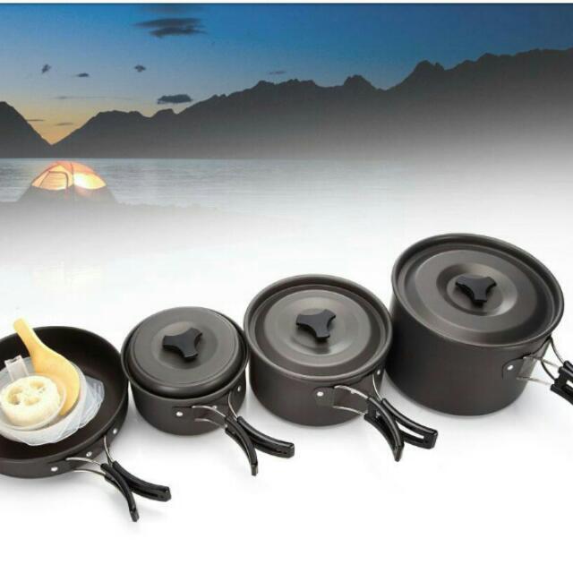 露營 四組鍋具附收納袋