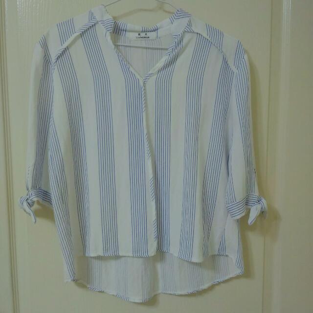 淺藍 直條紋立領雪紡襯衫 #交換最划算