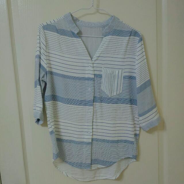 淺藍 橫條紋 韓版襯衫 #兩百元襯衫