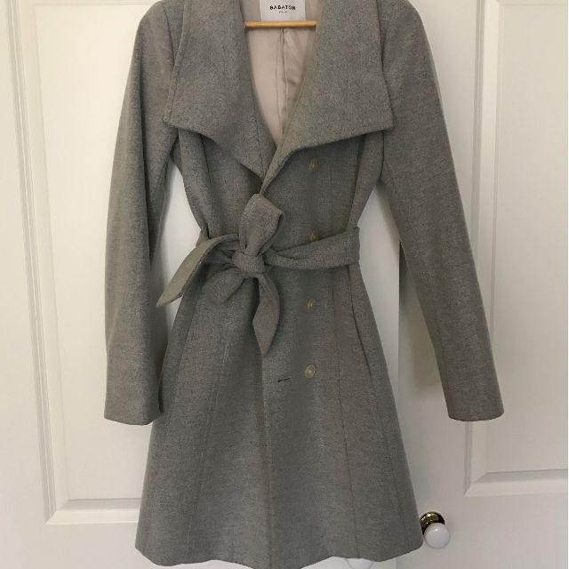 Aritzia Babaton Cristobal Grey Wool Wrap Coat