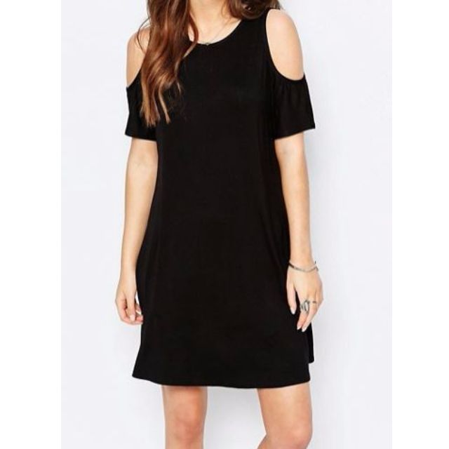 ASOS Cold Shoulder Black Shift dress size 8