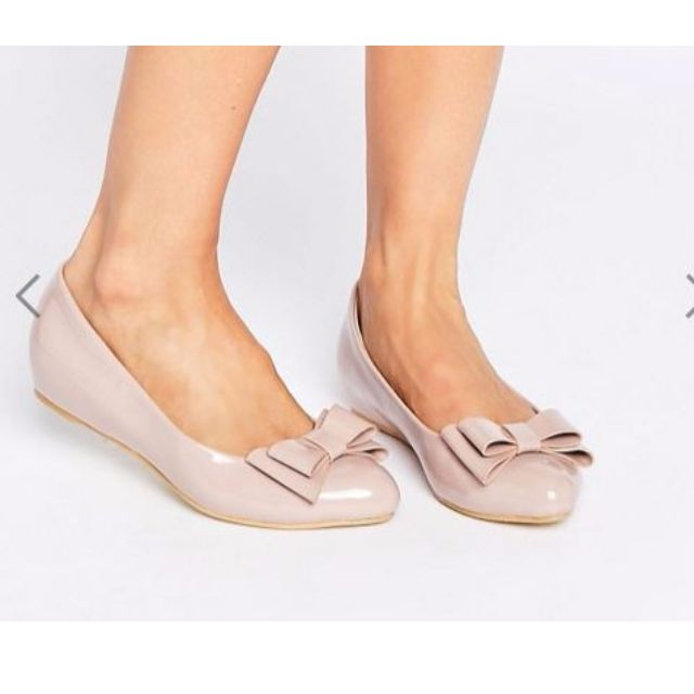 ASOS Pink Patent Ballet Flats with Bow Size 8