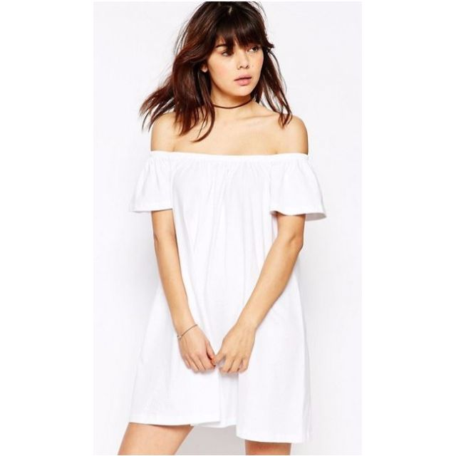 ASOS White Off Shoulder Casual Shift Dress Size 8