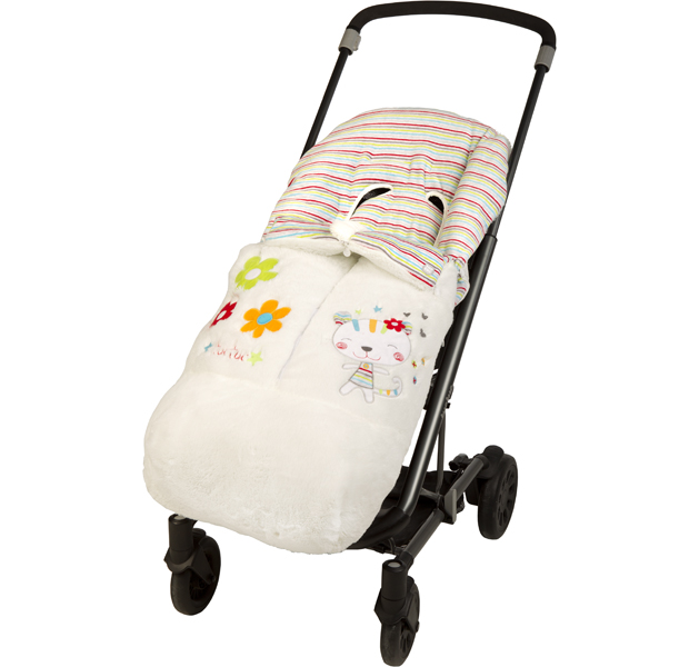 BABYGIRL TIGER & FLOWERS PRAM LINER - WINTER FOOTMUFF