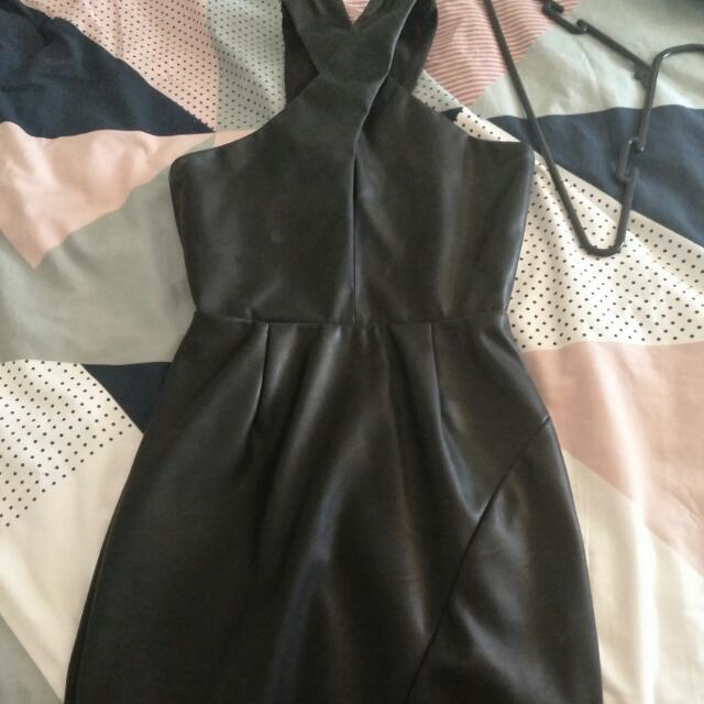 Bardot Dress Leather Look