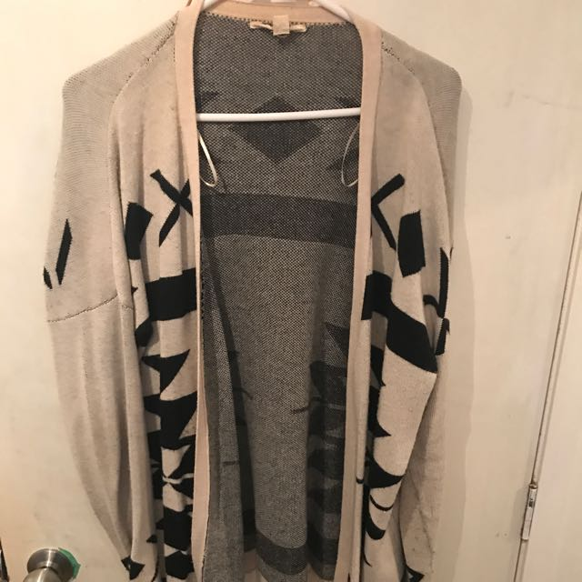 Beige And Black Cardigan