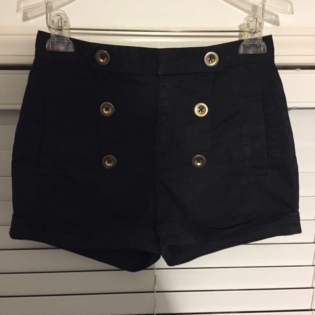 Black Aritzia Talula Sailor Shorts