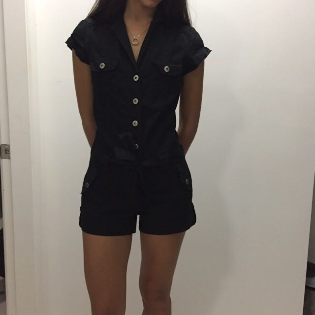 Black Button-Up Playsuit (From Bardot)