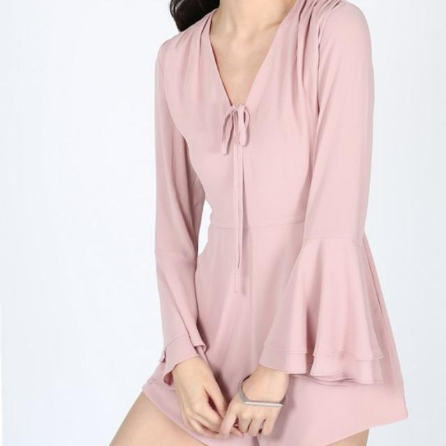 BNWT Love Bonito Ellette Bell Sleeve Playsuit (Blush In Size M)
