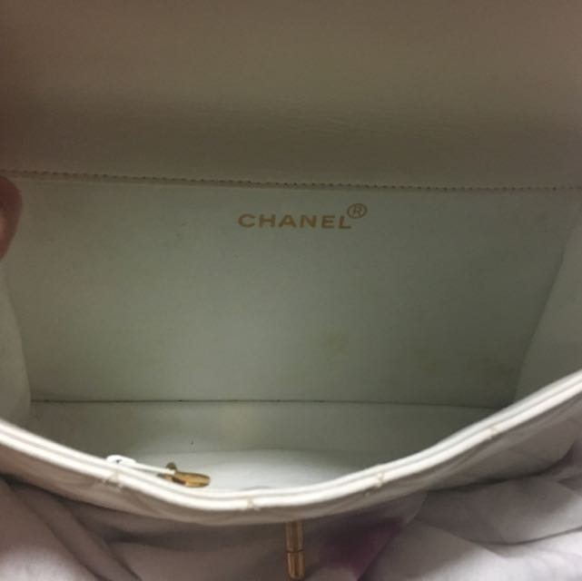 1e14cb034072cd Chanel Two way Flap Bag In White. Authentic., Luxury, Bags & Wallets on  Carousell