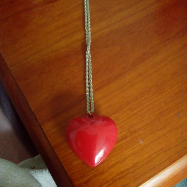 Chunky Red Heard Necklace