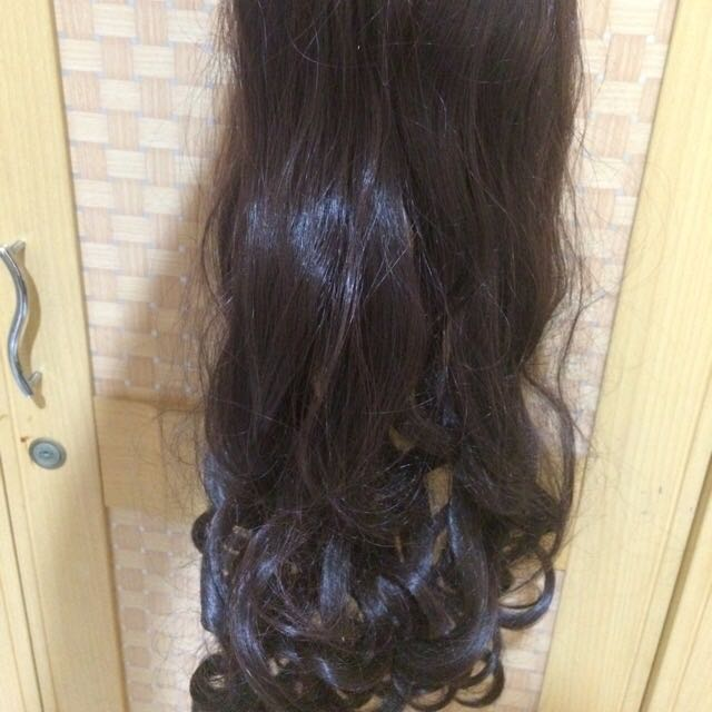 Curly Dark Brown Clip On Hair Extension 35 cm