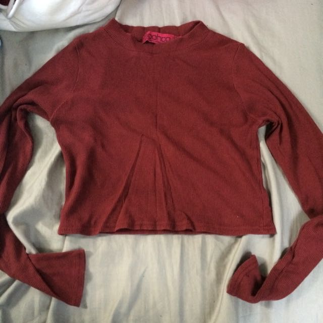 Dark Red/Maroon Crop Top