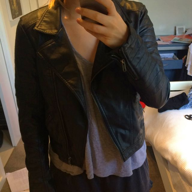 Faux Leather Glassons Jacket
