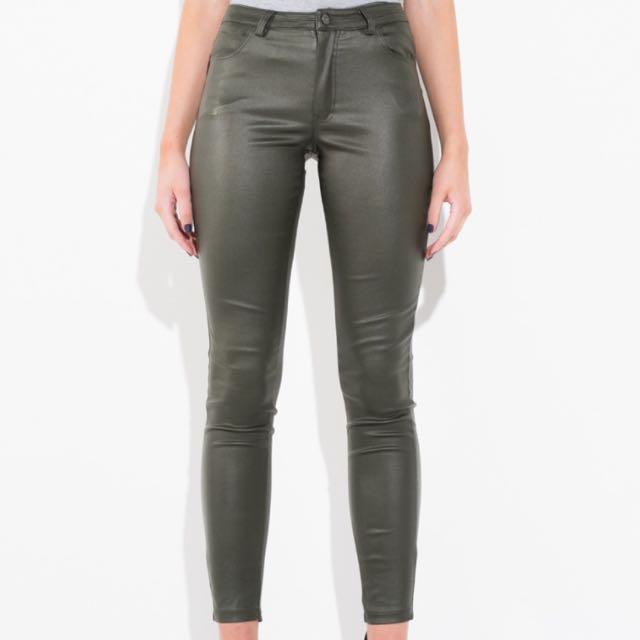 Faux Leather Khaki Jeans