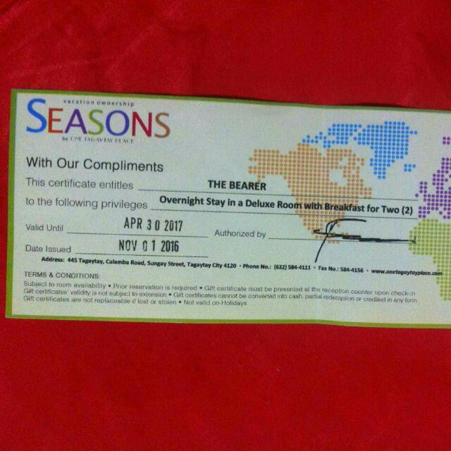 Gift Certificate (One Tagaytay Hotel) Extended