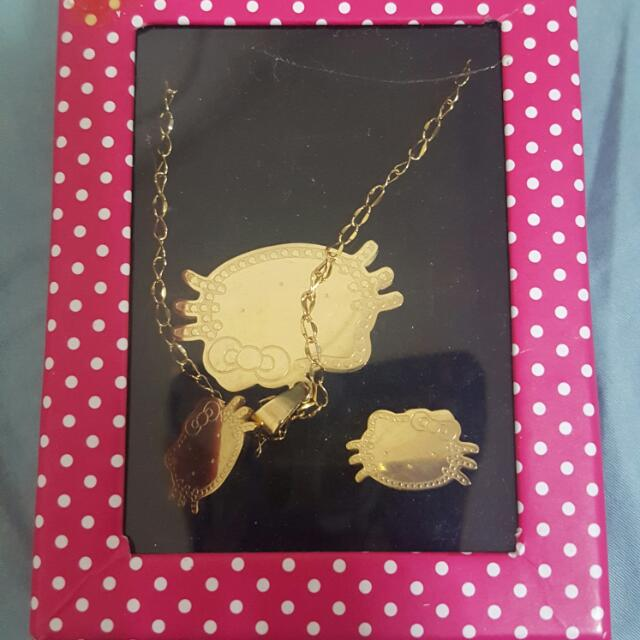 87a183d3a Gold Hello Kitty Necklace And Earrings Set, Babies & Kids, Girls ...