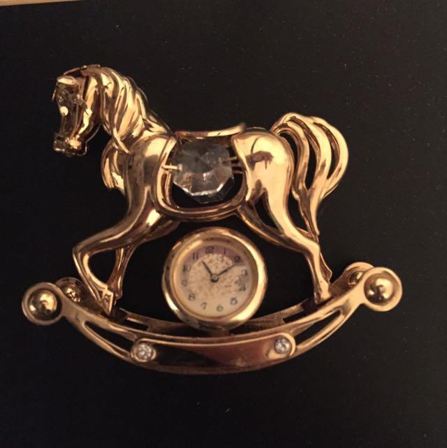 Gold rocking horse with Swarovski crystals