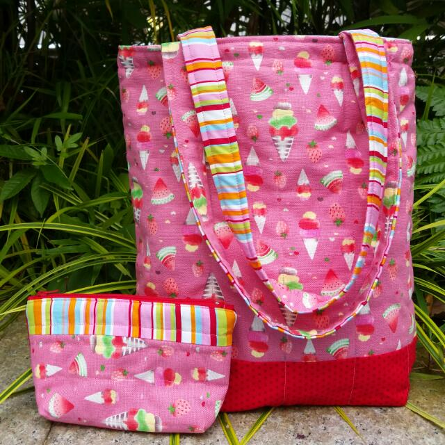 Ice Cream Tote Bag And Matching Pencil Case