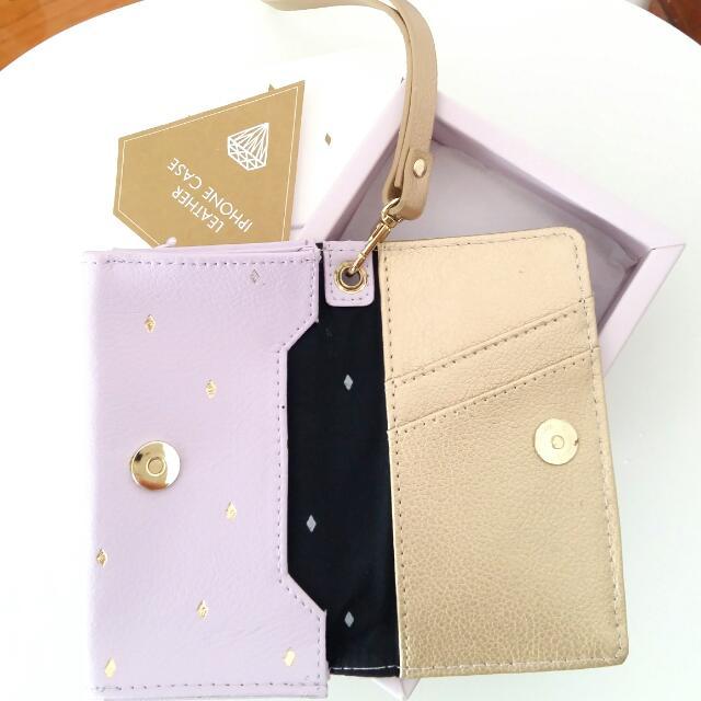 Kikki.k Lilac Gold Leather iPhone Case Cardholder