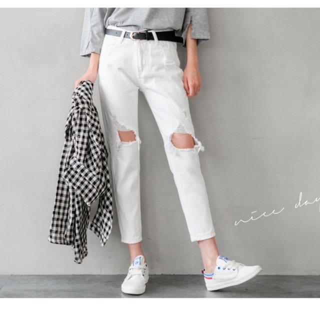 白色破壞男友褲-L
