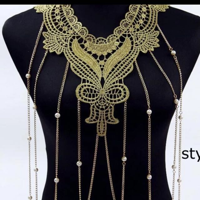 Lace Gold Body Chain Necklace