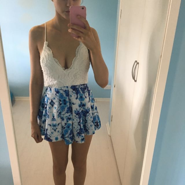 Light Blue And White Playsuit