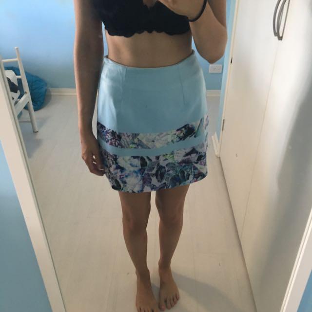 Light Blue Floral Midi Skirt