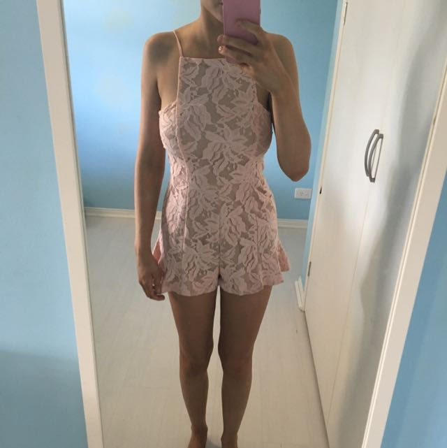 Light Pink Lacey Playsuit From Angel Biba
