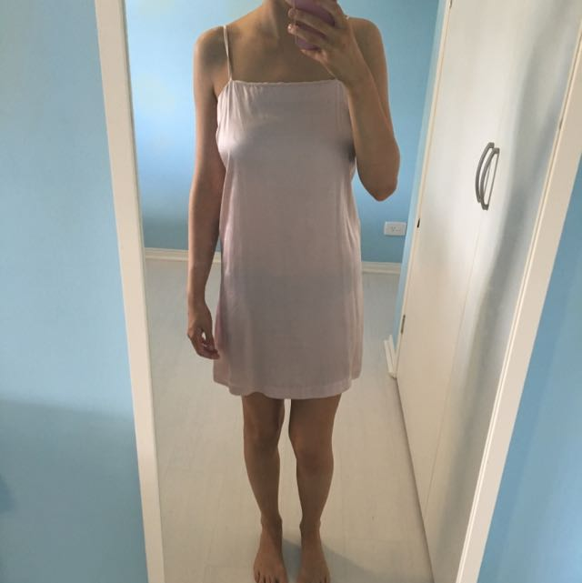 Light Pink Silky Slip Dress From Glassons