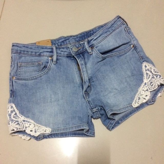 Maong Short With Lace