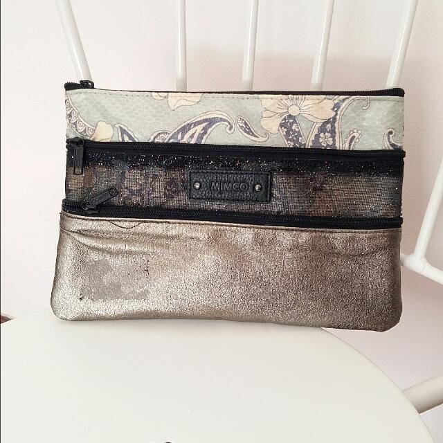 Mimco 3 Zip Pouch Clutch Bag