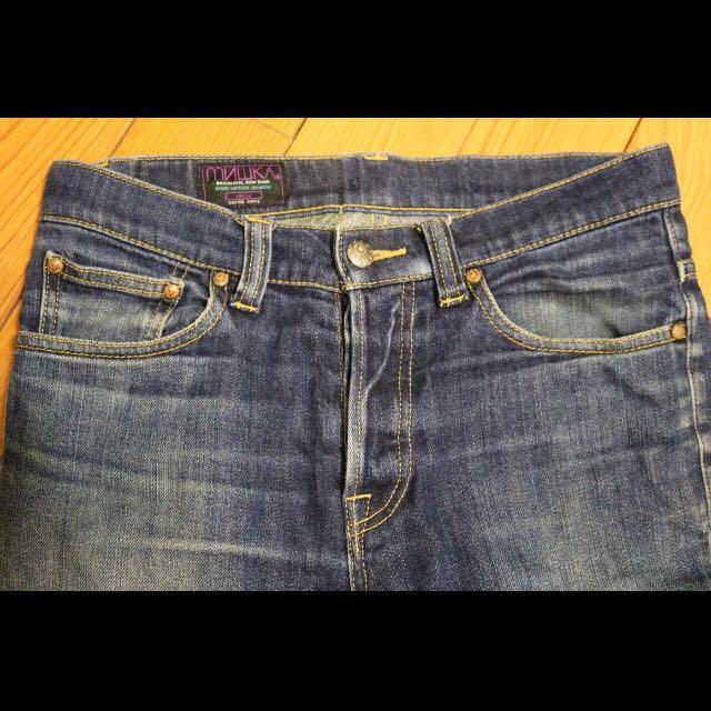 Mishka MNWKA 牛仔褲 29號 重磅 刷色 窄管 美國潮牌 眼球 暴力熊 復古 中性 二手 八成新