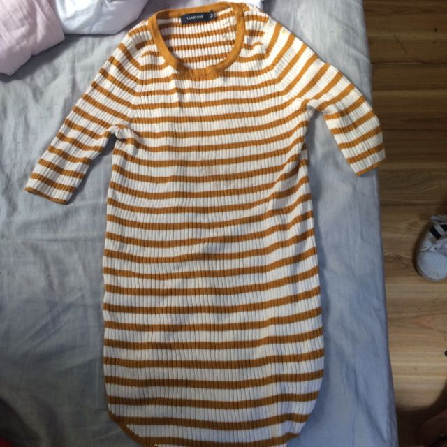 Mustard, Cream Striped Top