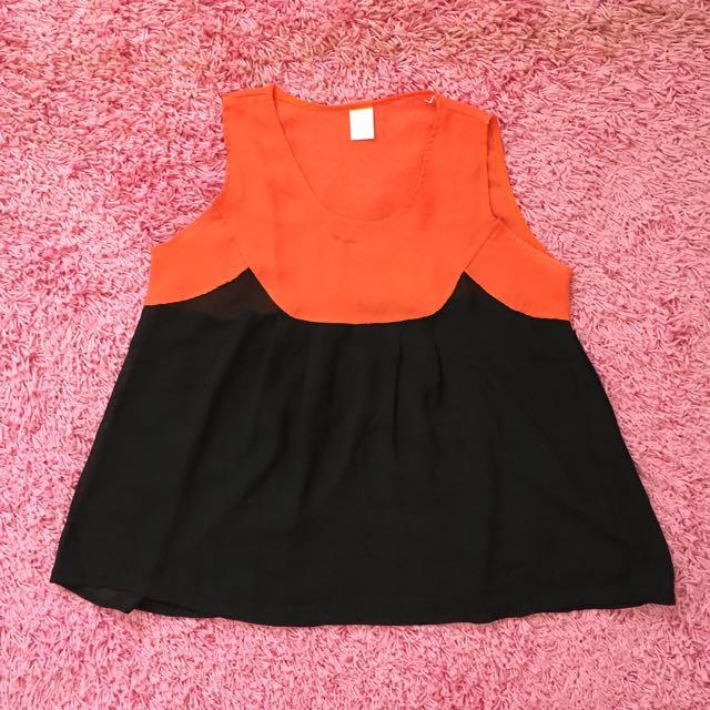 Orange Black Top
