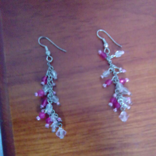 Pink Bead Dangly Earrings