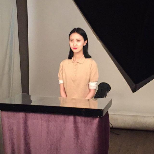 韓國代購裸色針織復古polo衫