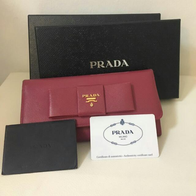 05d7d61d948c Prada Saffiano Fiocco Blow Leather Wallet (1M1132), Women's Fashion ...