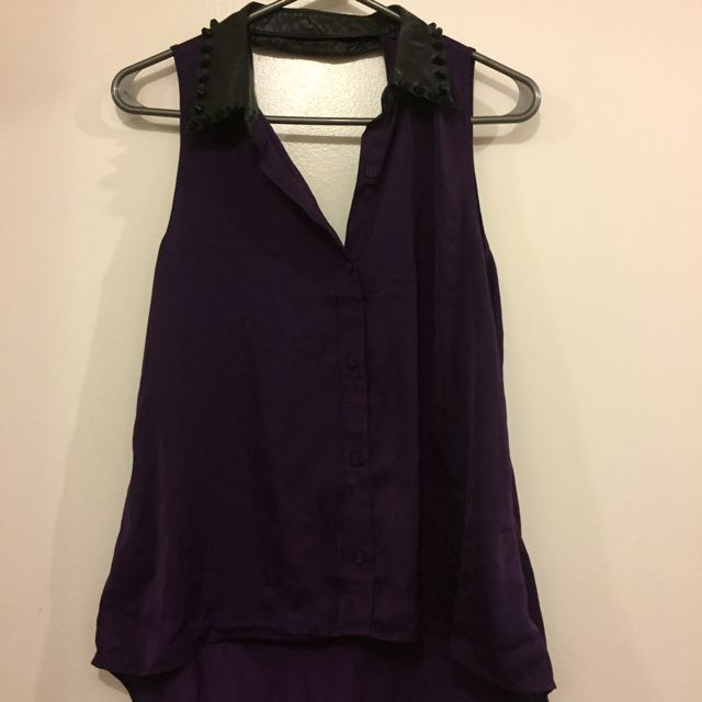 Sleeveless Purple Button Down Shirt with a Studded Collar