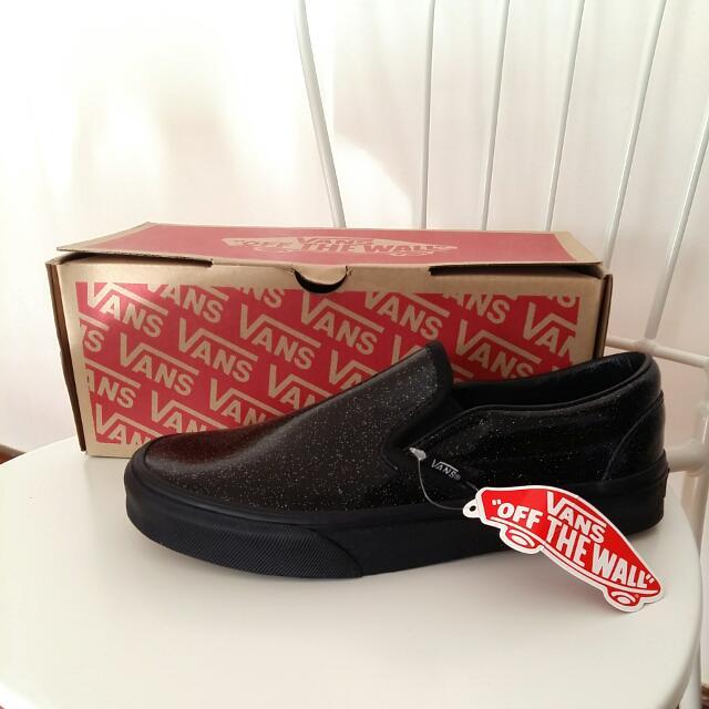 VANS Black Patent Glitter Plimsoll Sneakers