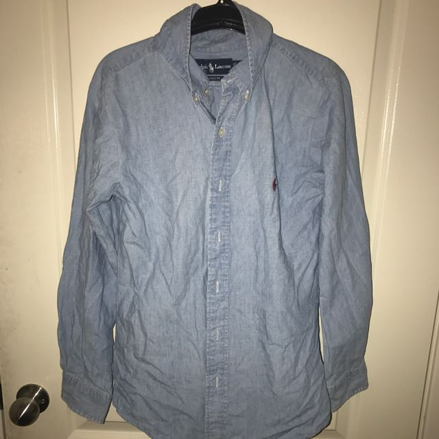 VINTAGE RALPH LAUREN DENIM LOOK BUTTON UP (XL)