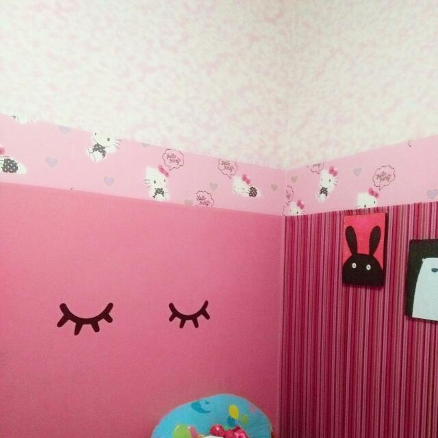 Wallpaper Hello Kitty Wallborder Home Furniture On Carousell