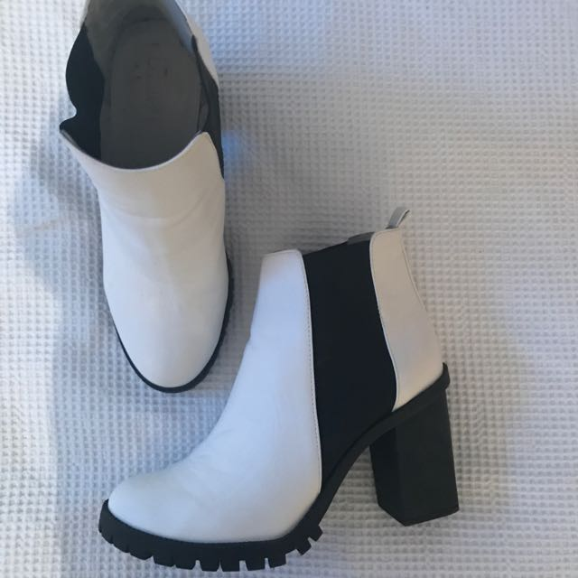 White And Black Boots