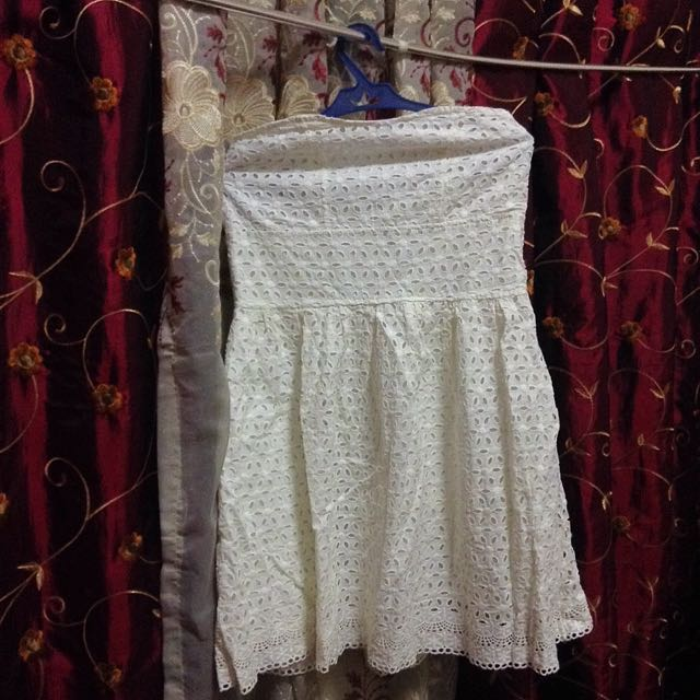 White Eyelet Tube Dress